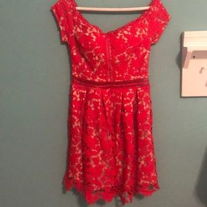 Red lace dress!
